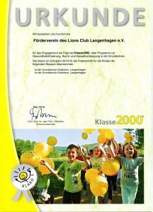 Urkunde Klasse 2000 2015 2c